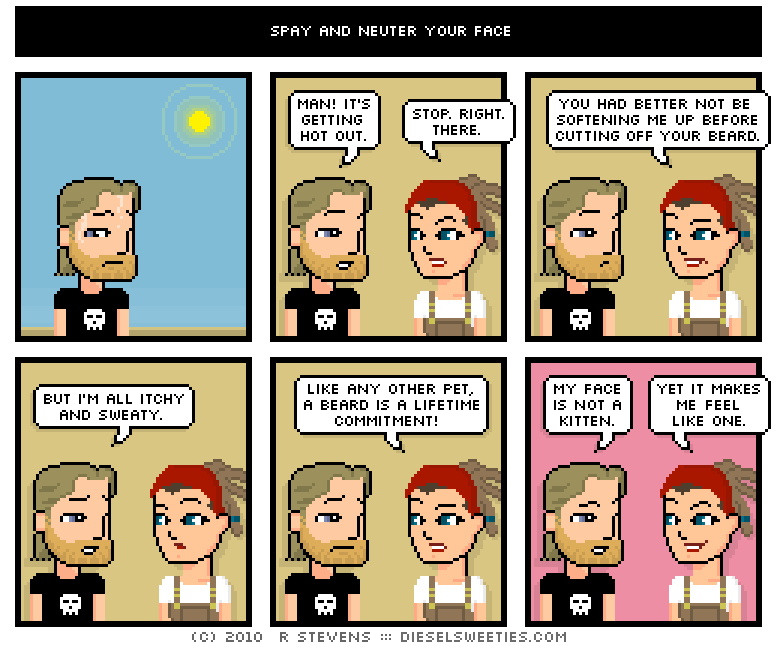 diesel sweeties comic: Spray and neuter your face
